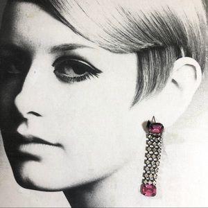 Vintage 80's pink rhinestone dangle earrings
